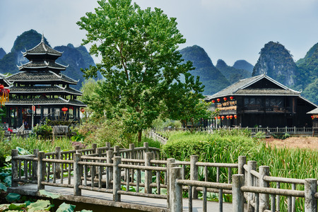 guilin: traditional house of Shangri La between Guilin and Yangshuo in Guangxi province, China