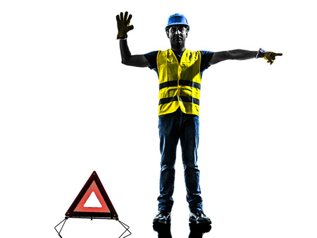 warning vest: accident detour deviation man silhouette isolated in white background