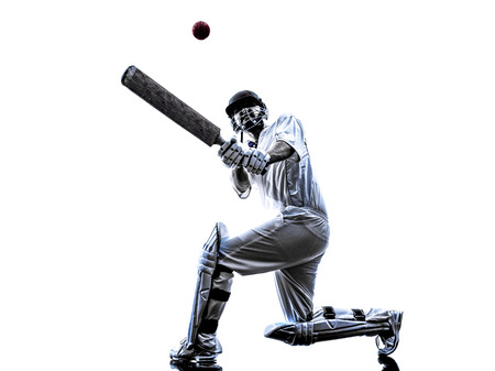 player: Cricket player batsman in silhouette shadow on white background