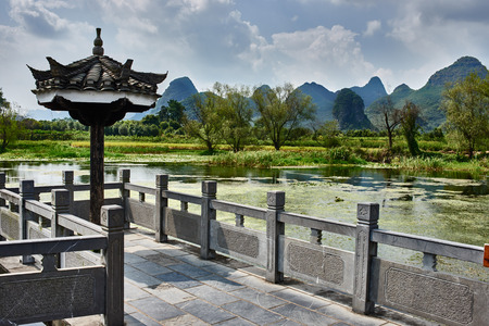 guilin: traditional house of Shangri La between Guilin and Yangshuo in Guangxi province  China