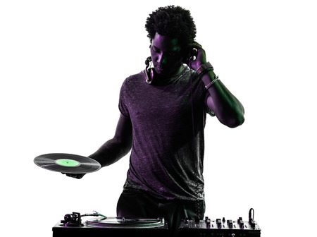 one disc jockey man in silhouette on white background 스톡 콘텐츠