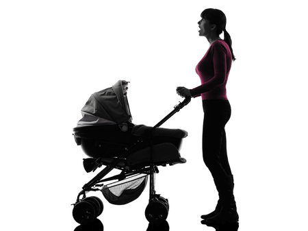 one  woman prams baby looking up surprised silhouette on white background photo
