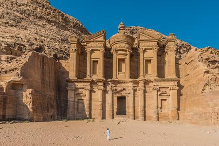 nabatean: The Monastery Al Deir in Nabatean Petra Jordan middle east