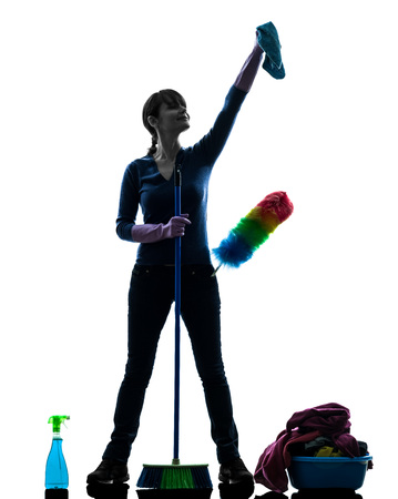 Woman housekeeping isolated silhouette cleaning