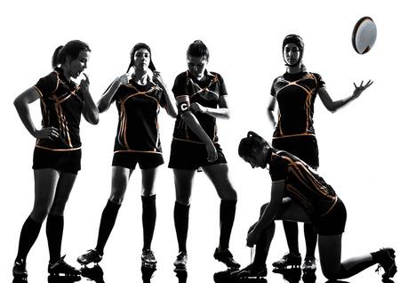 mujer: rugby jugadoras del equipo en silueta aislado en blanco apaisada
