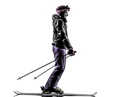 one  woman skier skiing in silhouette on white background photo