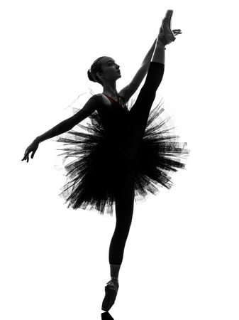 one  young woman ballerina ballet dancer dancing with tutu in silhouette studio on white background Banque d'images