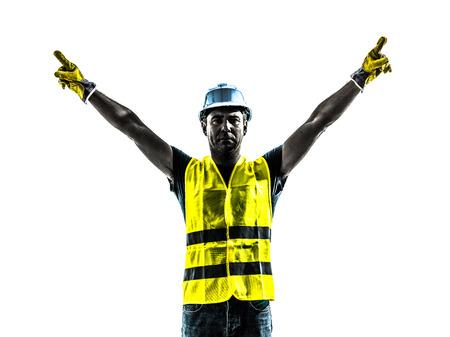 signalering: een bouwvakker signalering up silhouet geïsoleerd in een witte achtergrond