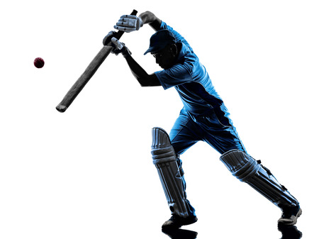 batsman: Cricket player batsman in silhouette shadow on white background