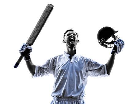 白の背景に影をシルエットでクリケット プレーヤーの肖像画 写真素材