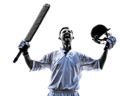 cricket: Cricket player portrait in silhouette shadow on white background