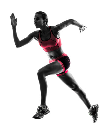 one  woman runner running jogger jogging in silhouette on white background