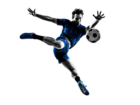 soccer uniforms: one italian soccer player man playing football jumping in silhouette white background