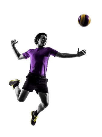 volleyball: young volley ball player man in silhouette white background Stock Photo