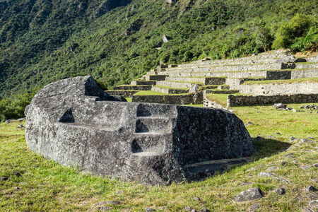mortuary: Mortuary rock at Machu Picchu, Incas ruins in the peruvian Andes at Cuzco Peru
