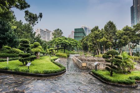 walled: ornamental garden Kowloon Walled City Park in Hong Kong Stock Photo