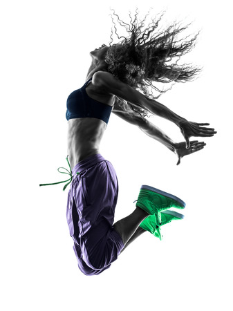 breakdancing: one african woman in studio silhouette isolated on white background