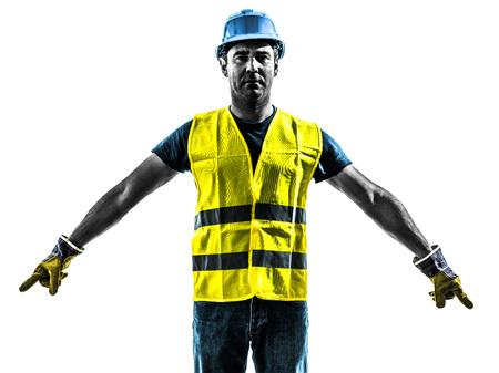 signalering: een bouwvakker signalering met veiligheidsvest silhouet geïsoleerd op witte achtergrond