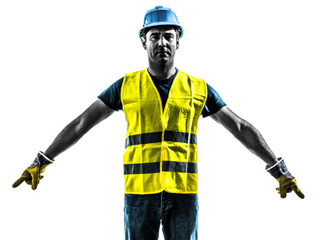 security vest: one construction worker signaling with safety vest silhouette isolated in white background