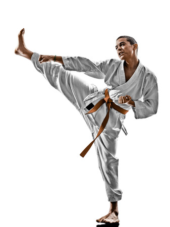 kata: one karate kata training teenagers kid isolated on white background Stock Photo