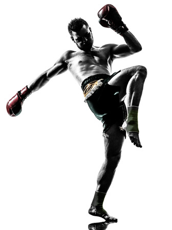 one  man exercising thai boxing in silhouette studio on white background Фото со стока