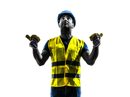 one construction worker signaling with safety vest extend boom silhouette isolated in white background photo