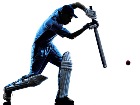 cricket: Cricket player batsman in silhouette shadow on white background