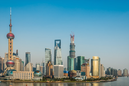 panoramics: Shanghai, China - April 7, 2013: pudong discrict skyline at the city of Shanghai in China on april 7th, 2013 Editorial