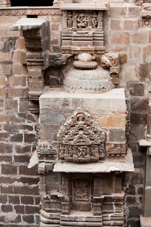 abhaneri: detail architecture of the giant step well of abhaneri in rajasthan state in india Stock Photo