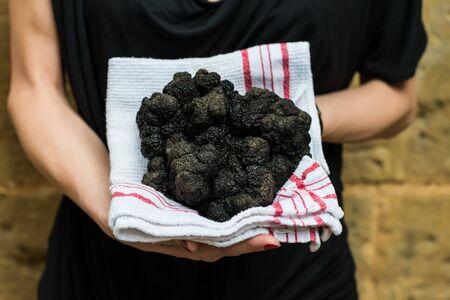 truffle: woman holding biggest black truffle Dordogne Perigord France Stock Photo