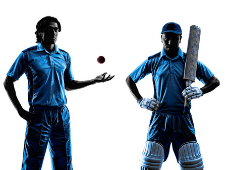 batsman: two Cricket players in silhouette shadow on white background