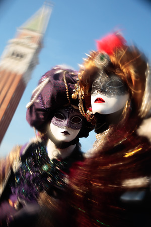 disguised: wonderful fashion show of disguised people during the venice carnival in italy Stock Photo