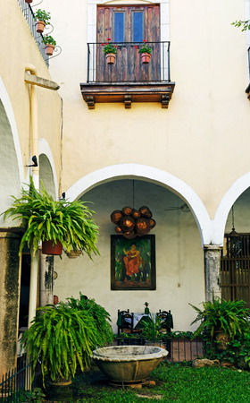 best place: view of the spanish colonial style patio of del marques restaurant in valladolid yucatan mexico the best place to eat in this town
