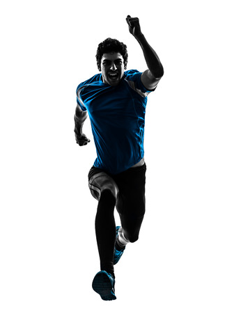 man isolated: one  man running sprinting jogging shouting in silhouette studio isolated on white background