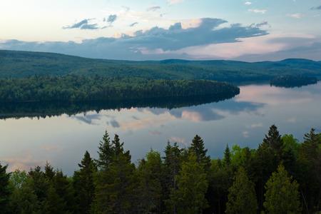 quebec: panorama lake of sacacomie in quebec canada