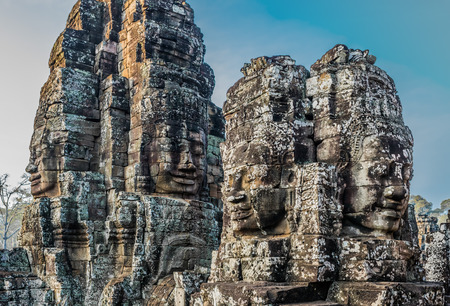 angkor thom: giant faces prasat bayon temple Angkor Thom Cambodia Stock Photo