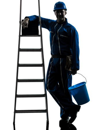one  repairman worker silhouette in studio on white background photo
