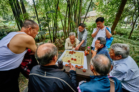 thatched cottage: Chengdu, China - September 21, 2014: people playing Xiangqi  chinese chess  Du Fu thatched Cottage park  in Chengdu Sichuan China Editorial