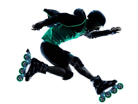skaters: one caucasian man Roller Skater inline  Roller Blading in silhouette isolated on white background