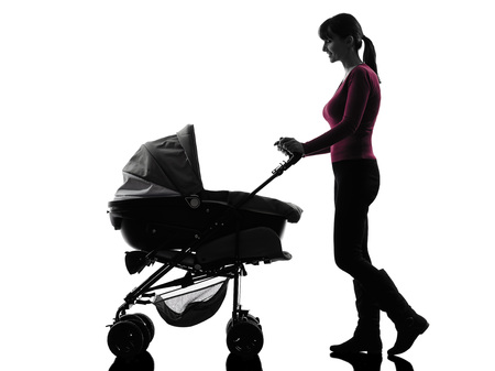 one  woman prams baby walking silhouette on white background photo