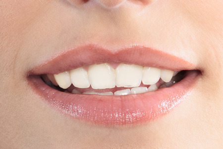 close up of beautiful mouth lips teeth smile smiling  woman