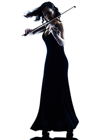 musician silhouette: one caucasian Violinist woman player playing violon studio slihouette isolated in white background
