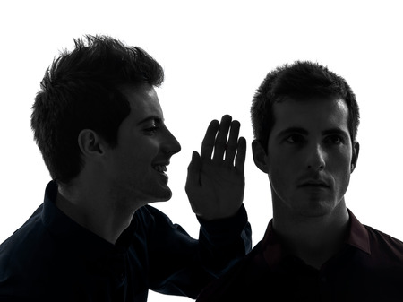 two  young men influence concept in shadow white background photo