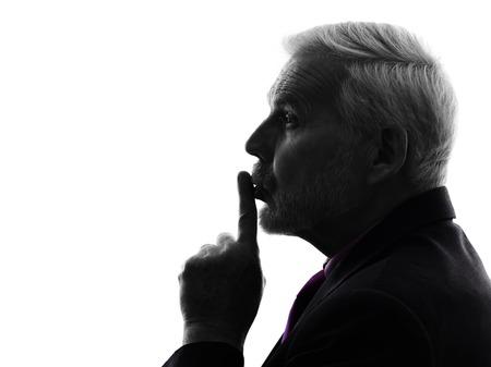 profile views: senior man hushing