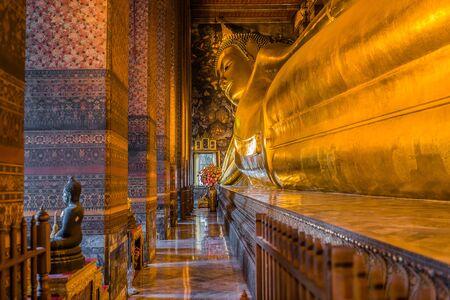 reclining: reclining buddha Wat Pho temple Bangkok Thailand Editorial