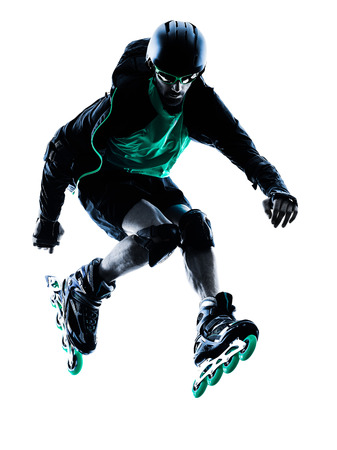 one caucasian man Roller Skater inline  Roller Blading in silhouette isolated on white background
