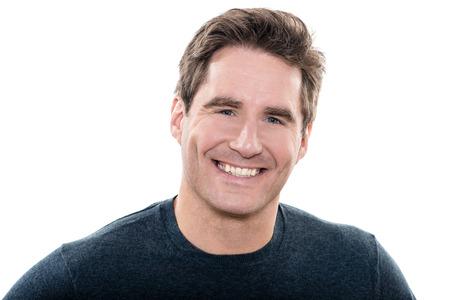 成熟した 1 つ男、青いハンサムな縦目笑顔肖像画スタジオ白背景 写真素材