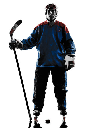 hockey: one caucasian man hockey player  in studio  silhouette isolated on white background