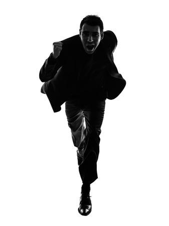 bonhomme blanc: un homme d'affaires caucasien courir en silhouette sur fond blanc