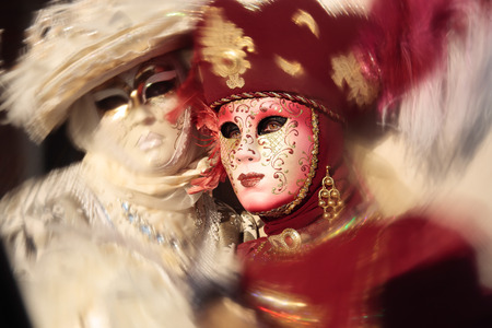 disguised: wonderful fashion show of disguised people during the venice carnival in italy